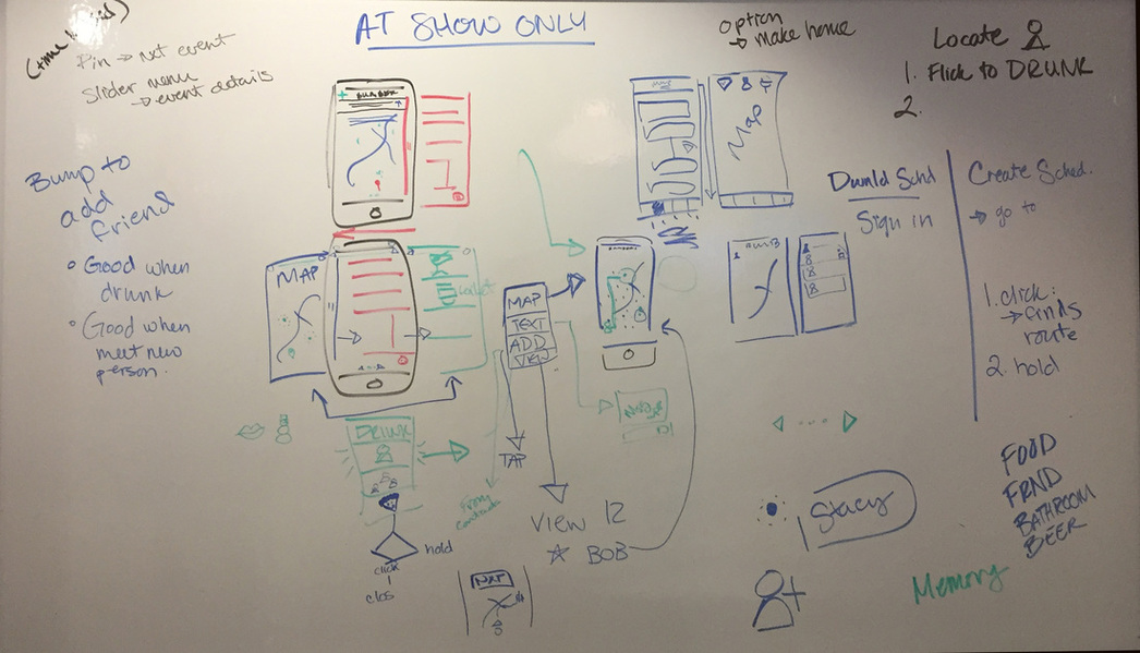 Picture of white board filled with potential navigation interactions for the Bumbershoot App